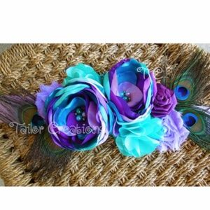 Peacock Floral wedding maternity sash